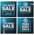 cyber monday sale banner set cartoon vector image vector image