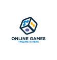 dice online games logo vector image vector image