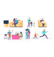 family in daily activities mother father and vector image