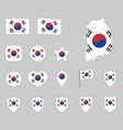 flag south korea set republic korea vector image vector image