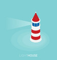 flat isometric lighthouse icon on blue sea vector image vector image