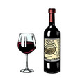 glass red wine and bottle still life vector image vector image