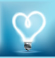 glowing neon light bulb in shape a heart vector image vector image