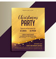golden christmas shiny flyer with lights vector image