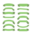 Green banners set blank ribbons vector image vector image