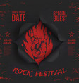 grunge rock festival background template vector image