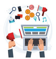 Hand business man working computer digital vector image