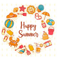 happy summer icon with lettering background vector image vector image