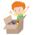 Little boy and box full of balls vector image