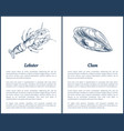 lobster and clam posters set vector image vector image