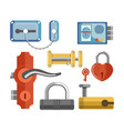 metal locks for permises protection isolated vector image vector image