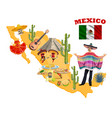 mexican map with mariachi red chilli sombrero vector image vector image