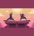 ninja fight cartoon scene with ancient japanese vector image