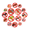no insect sign icons set isometric 3d style vector image vector image