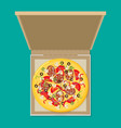 open pizza box flat style design - vector image vector image