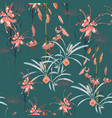 pattern orange lily flowers and protea flowers vector image vector image