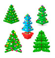 pine tree pixel green christmas holiday vector image vector image