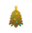 pine tree with star and balls decoration christmas vector image vector image