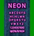 pink neon font set vector image vector image