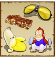 Play set of banana toys sweets and sunglasses vector image