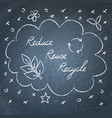reduce reuse recycle lettering on chalkboard vector image vector image