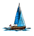 sailboat a sea yacht floats vector image vector image