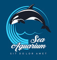 sea aquarium emblem with jumping orca vector image