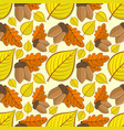 seamless pattern with acorns and linden leaves vector image