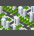 seamless urban plan pattern map isometric vector image vector image