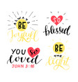 set 4 hand lettering christian quotes be joyful vector image vector image
