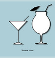set icon glass of cocktail on a blue background vector image