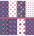 set seamless patterns with space planets stars vector image