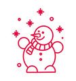 snowman with striped scarf and snowflakes linear vector image
