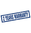 square grunge blue 2 years warranty stamp