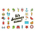 summer time in beach sea shore with objects vector image