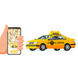 taxi app or service yellow car and smartphone vector image