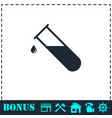 test tube icon flat vector image vector image