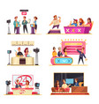 tv game show cartoon set vector image