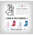 Ugg and Felt boots thin line icons Valenki