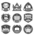 vintage monochrome education labels set vector image vector image