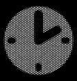 white dotted clock icon vector image vector image