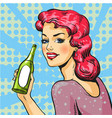 woman with wine in pop art vector image vector image
