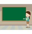 Young teacher standing with chalkboard vector image vector image