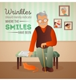 an old man sitting in the vector image