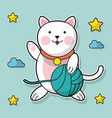 cat holding yarn ball cloud star background vector image
