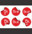 15 percent off red paper sale stickers vector image vector image