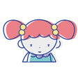 beauty girl with hairstyle to kawaii avatar vector image vector image