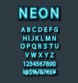 blue neon character font set on dark background vector image vector image