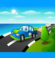 blue sport car in the seasi vector image