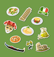 cartoon italian cuisine elements stickers vector image vector image